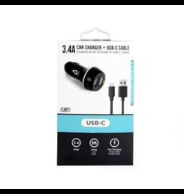 Libratel Libratel Dual USB Car Charger w/ Type C Cable - Black