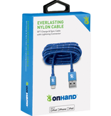 OnHand OnHand Everlasting Nylon lightning cable 5ft - Blue