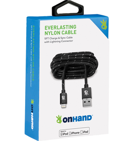 OnHand OnHand Everlasting Nylon lightning cable 5ft - Black