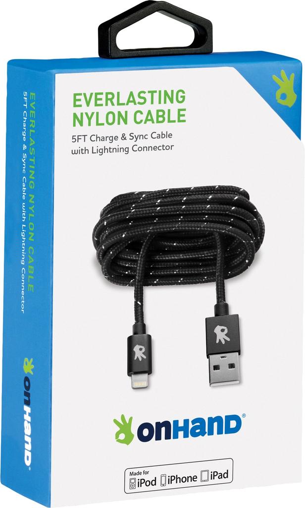 OnHand OnHand Everlasting Nylon lightning cable 5ft - Black