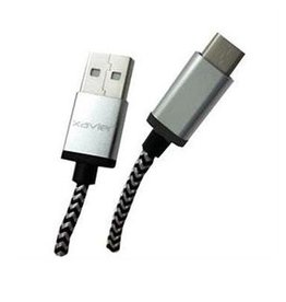 Xavier Xavier Braided Type-C to USB A Cable 6 Feet - Silver