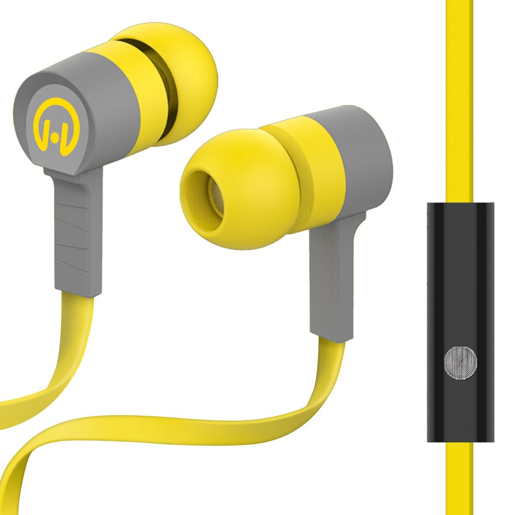 HyperGear Low Ryder Earphones with Mic - Yellow / Grey