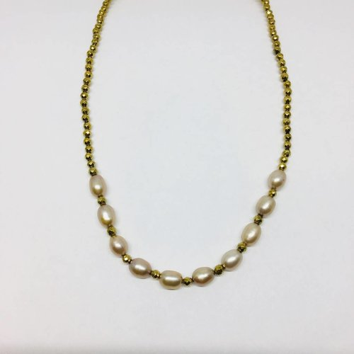 Kat Designs Champagne Bullet Pearl and Gold Hematite Stretch Choker
