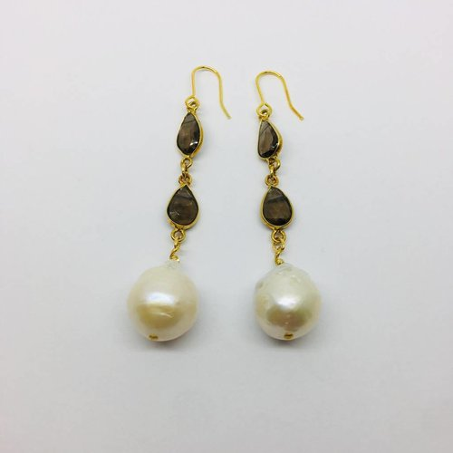 Kat Designs Gold Bezel and Smokey Quartz Drop Pearl Earrings