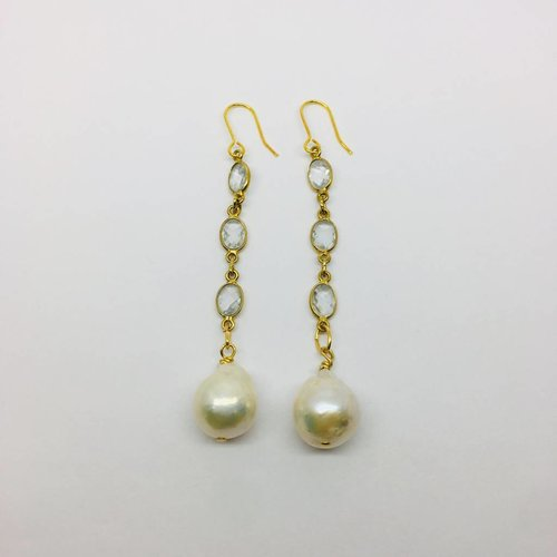 Kat Designs Gold and Clear Crystal Drop Earrings with Pearl