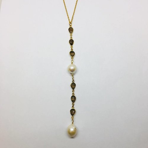 Kat Designs Matte Gold Lariat Necklace with Smokey Onyx and Pearl