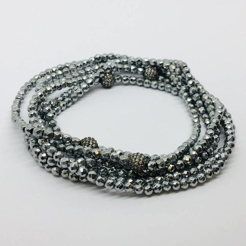 Kat Designs Gunmetal Hematite and Bullet Pearl Stretch Necklace