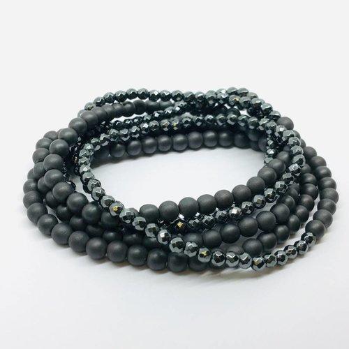 Kat Designs Matte and Gunmetal Long Hematite Stretch Necklace