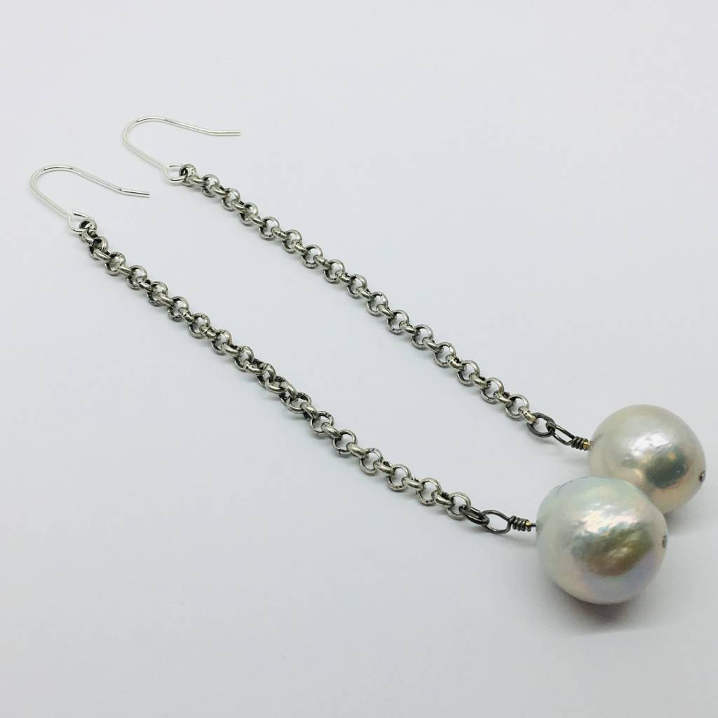 Kat Designs Silver and Pearl Drop Earrings