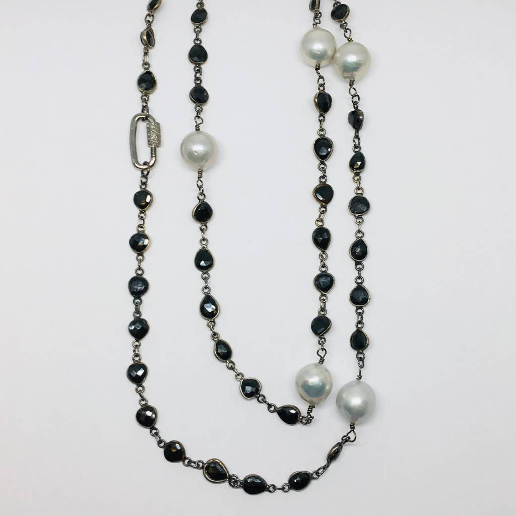Kat Designs Onyx Bezel Long Necklace with Pearls and Pave Clasp