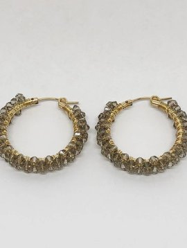 Viv & Ingrid Greige Spiral Hoop Earrings