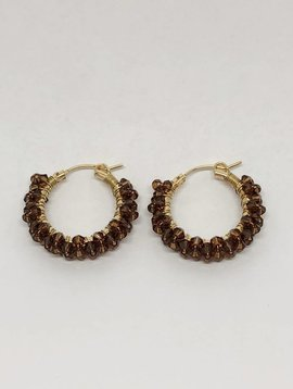 Viv & Ingrid Smokey Topaz Spiral Earrings