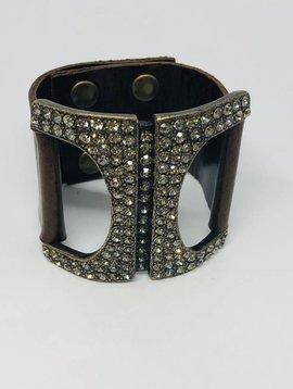 Rebel Design Leather and Swarovski Bracelet