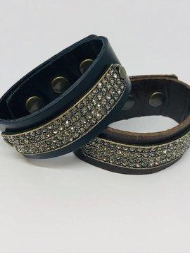 Rebel Design Crystal Rectangle Leather Bracelet