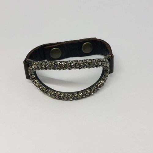 Rebel Design Open Oval Crystal and Leather Bracelet