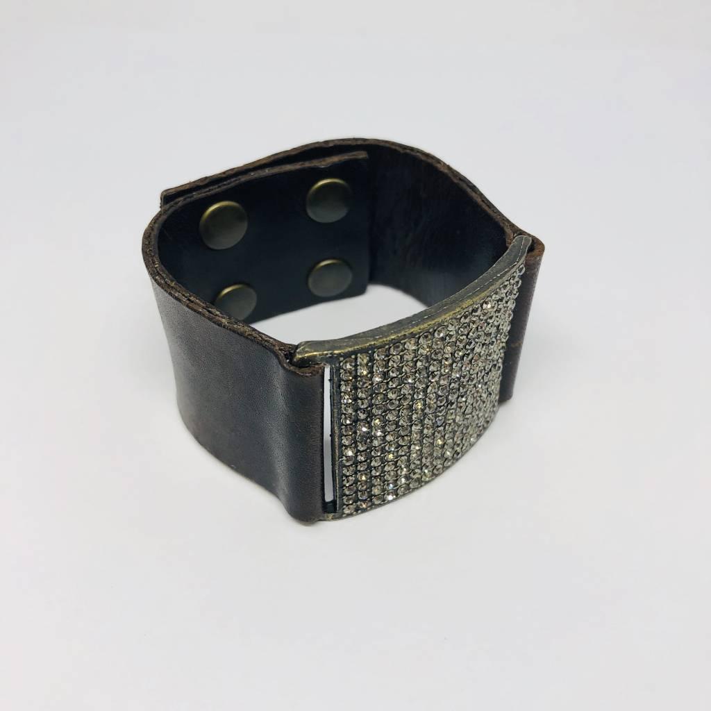 Rebel Design Crystal Square and Leather Bracelet