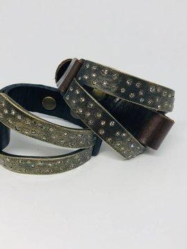 Rebel Design Crystal, Metal and Leather Triangle Bracelet