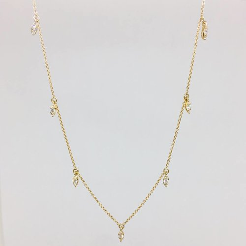 Dana Rebecca Yellow Gold Marquis Diamond Drop Necklace