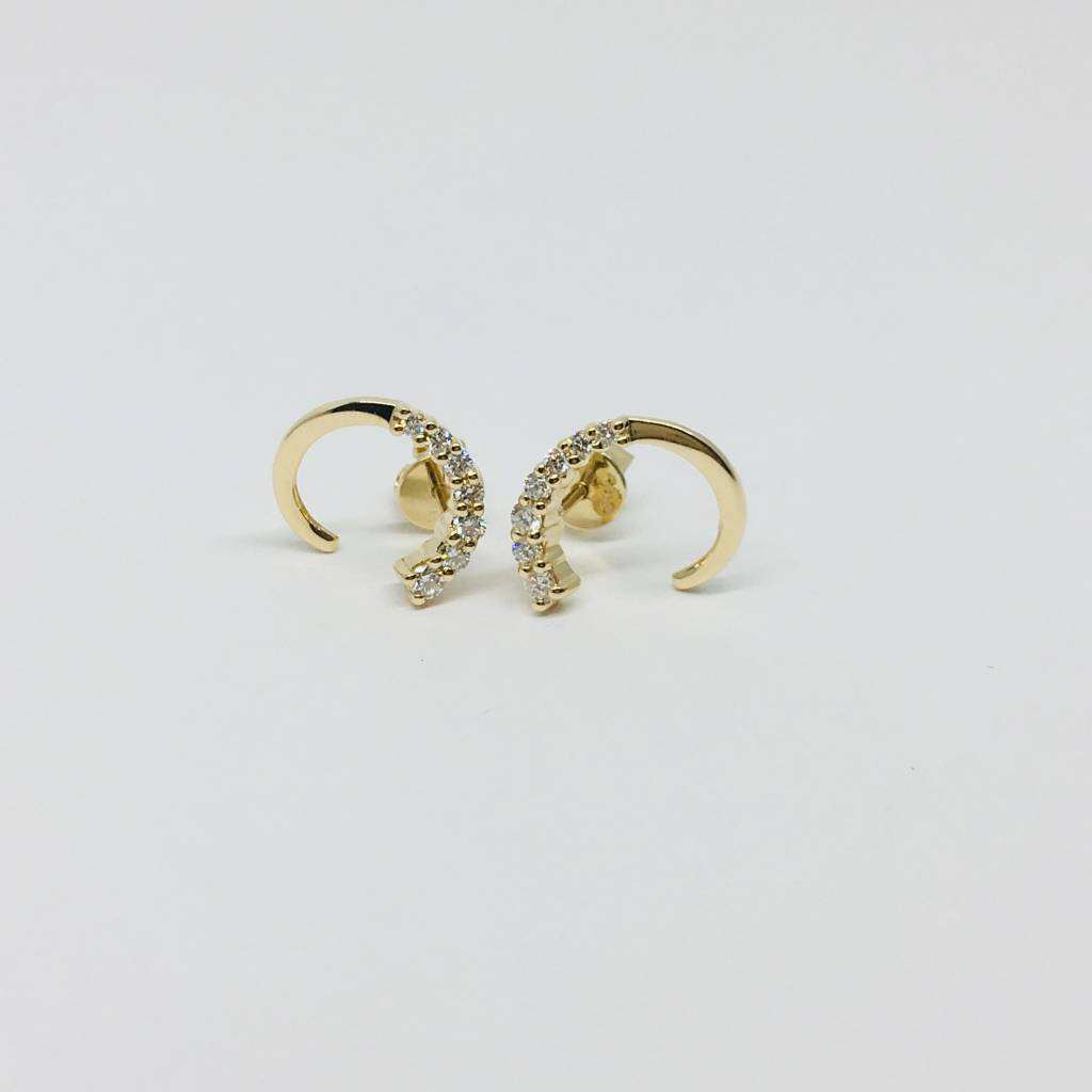 Dana Rebecca Yellow  Gold Diamond Open Circle Earrings