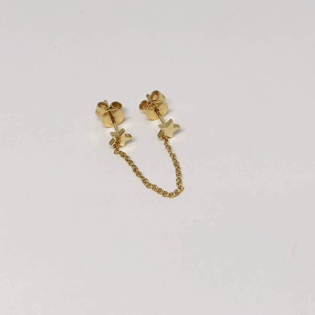 Majolie Gold Star Chain Double Earring