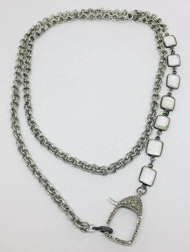 Kat Designs Gunmetal and Labradorite Chain with Pave Clasp