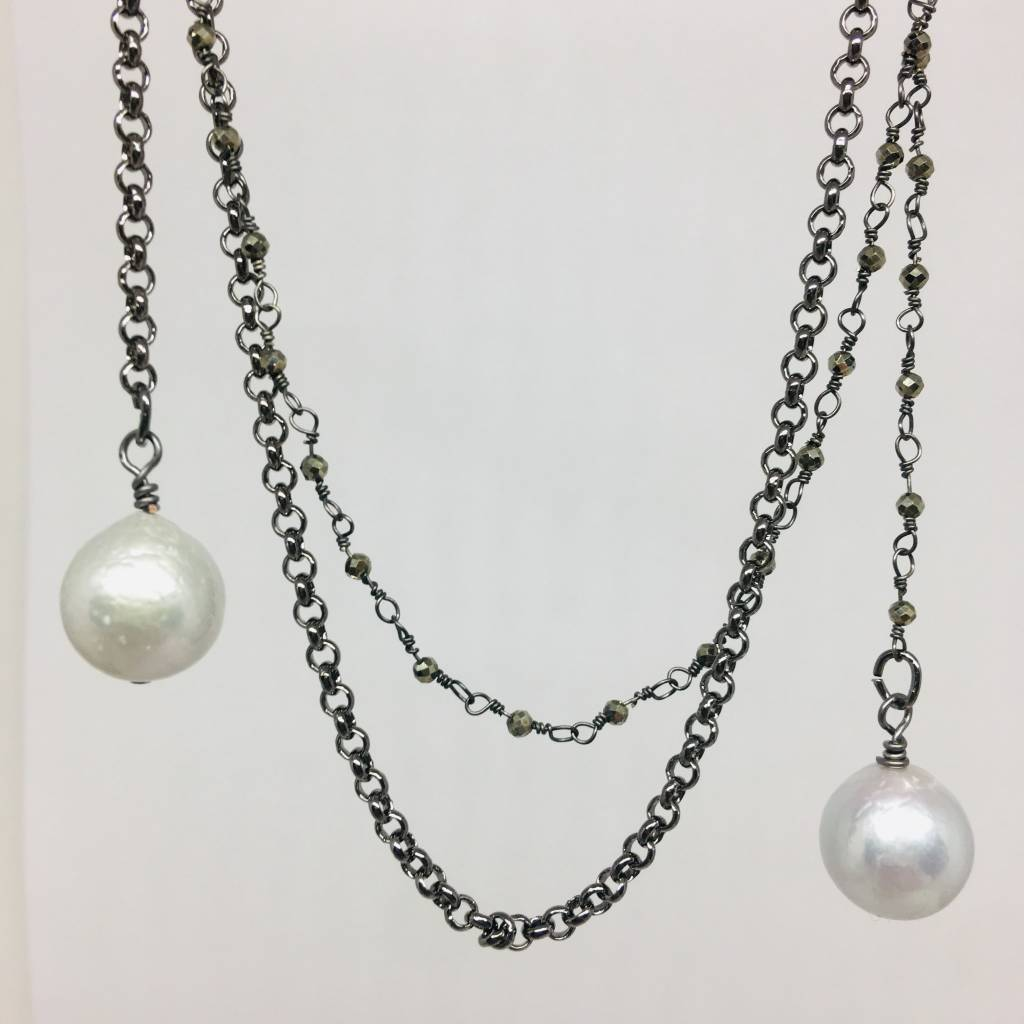 Kat Designs Pyrite and Pearl Lariat Wrap Necklace