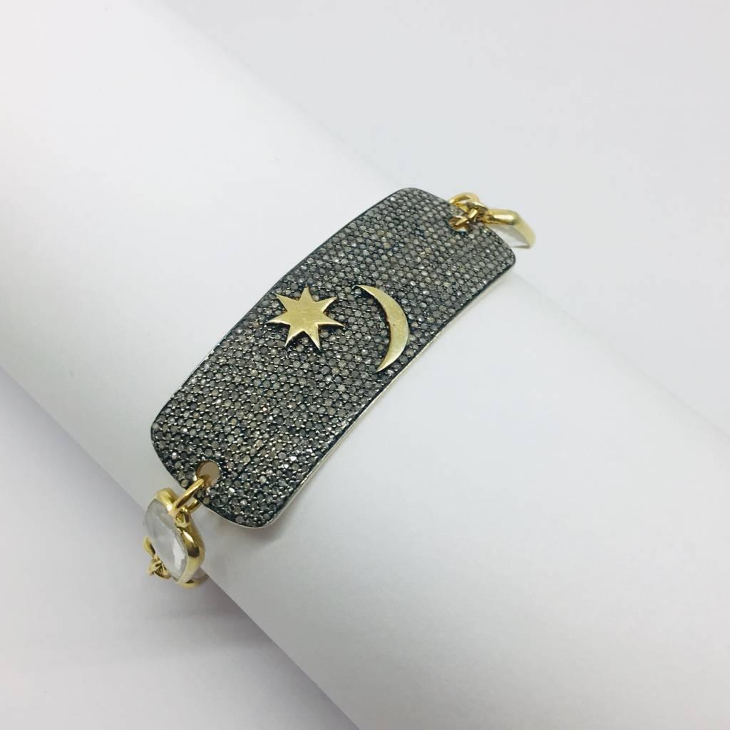 Kat Designs Diamond Star and Moon Bar Bracelet