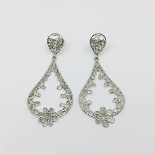 Kat Designs Sliced Diamond Chandelier Earrings
