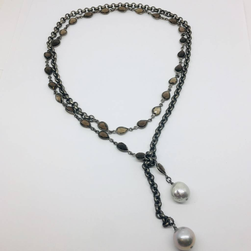 Kat Designs Smokey Bezel and Gunmetal Wrap Chain