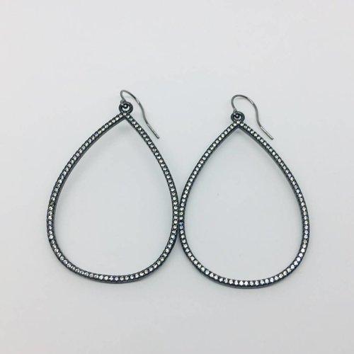 Kat Designs Open Teardrop Gunmetal Earrings