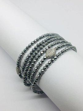 Kat Designs Silver Hematite Necklace