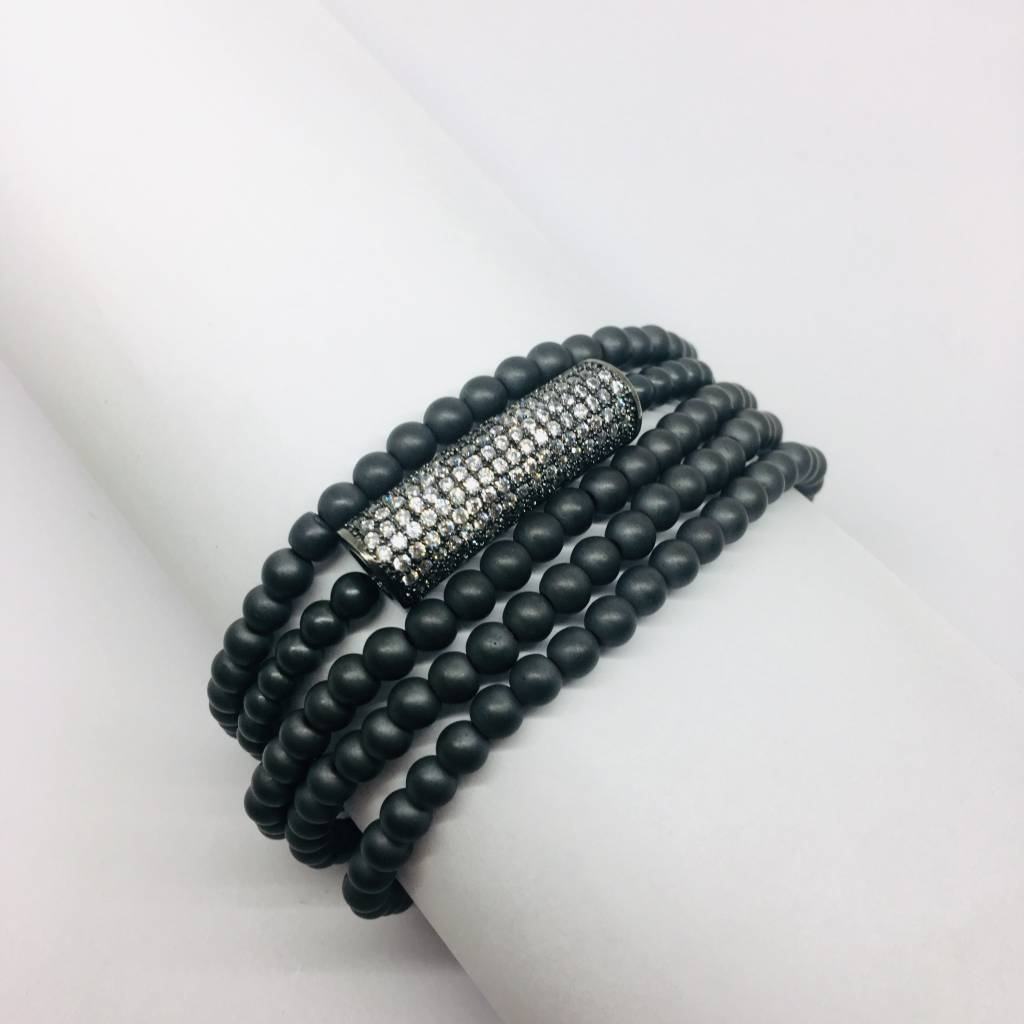 Kat Designs Grey Hematite Bracelet Set