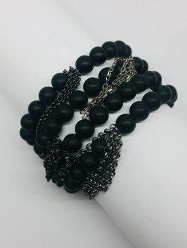 Kat Designs Black Bead and Fringe Bracelet