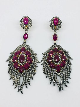 United Gemco Diamond and Ruby Intricate Earrings