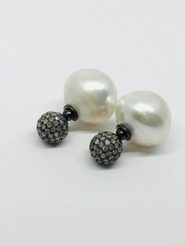 United Gemco Pearl and Pave Earrings