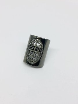United Gemco Intricate Diamond and Silver Ring