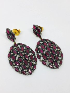United Gemco Diamond and Ruby Drop Earrings