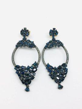 United Gemco Black Diamond Baguette Earrings