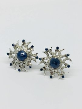 United Gemco Pave and Sapphire Star Earrings