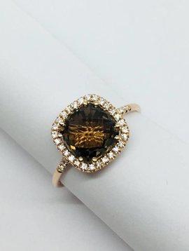 Suzanne Kalan Rose Gold and Smokey Quartz Ring