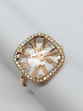 Suzanne Kalan Rose Gold and White Topaz Ring