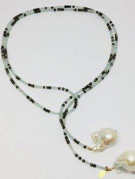 Aquamarine and Pyrite Ombre Classic Gemstone Lariat