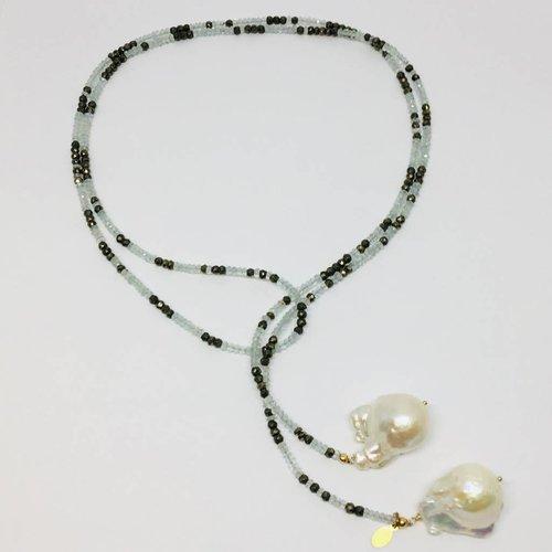 Joie DiGiovanni Aquamarine and Pyrite Ombre Classic Gemstone Lariat