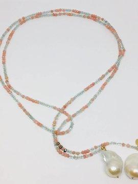 Aquamarine and Pink Opal Classic Gemstone Lariat