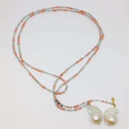 Joie DiGiovanni Aquamarine and Pink Opal Classic Gemstone Lariat