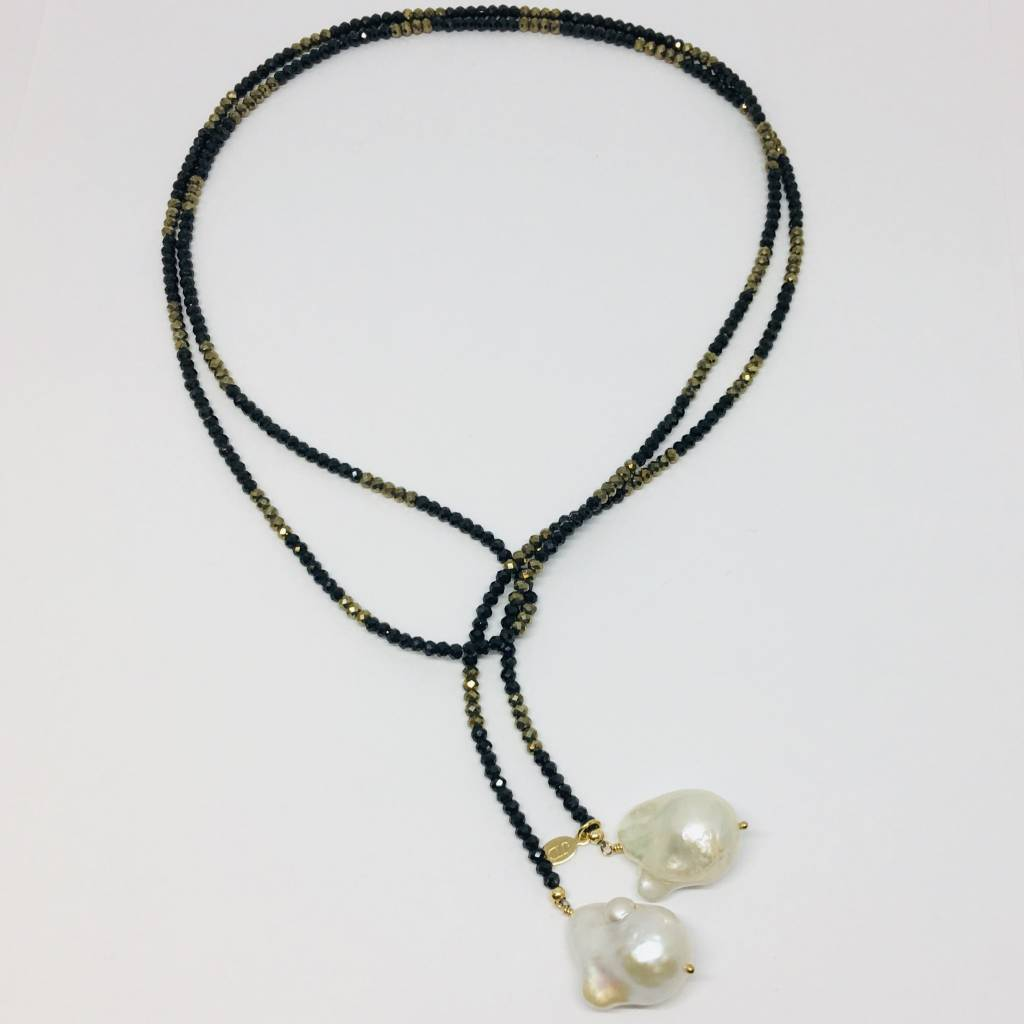 Spinel and Pyrite Ombre Classic Gemstone Lariat