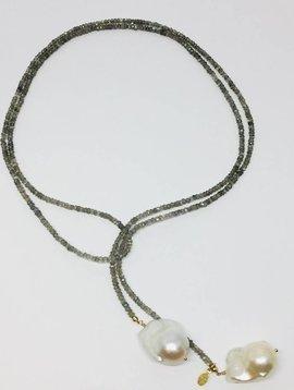 Joie DiGiovanni Labradorite and White Baroque Pearl Classic Gemstone Necklace
