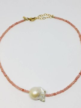 Pink Opal Single Baroque Pearl Gemstone Necklace