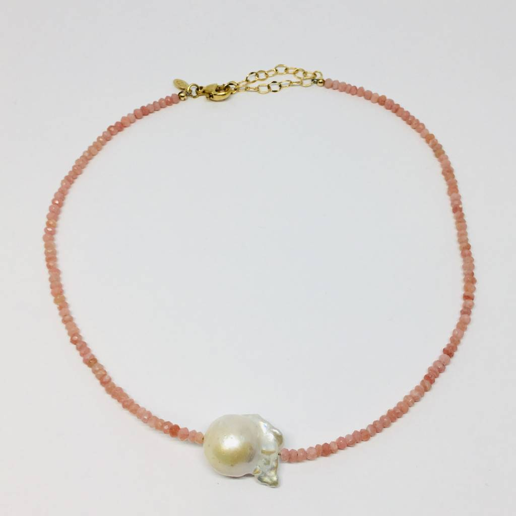 Joie DiGiovanni Pink Opal Single Baroque Pearl Gemstone Necklace