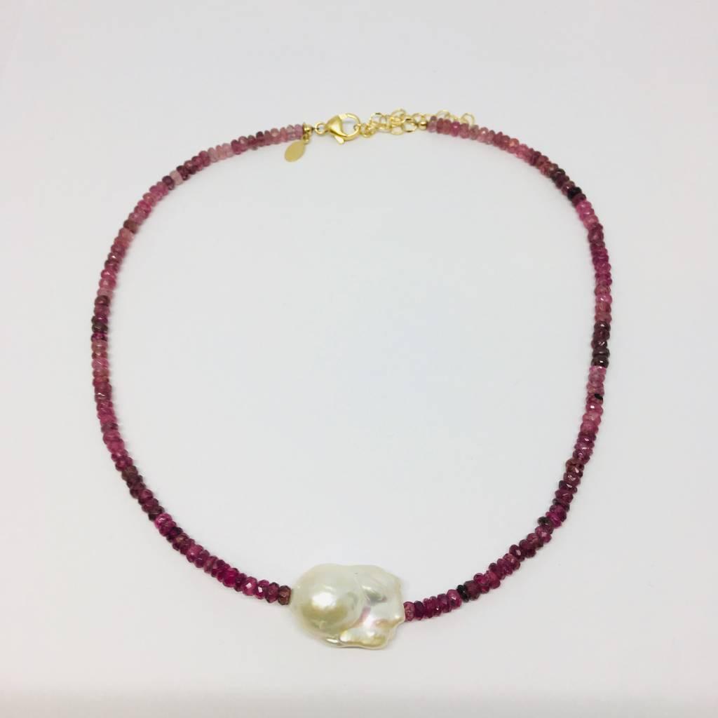 Pink Tourmaline Single Baroque Pearl Gemstone Necklace